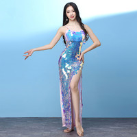 Magic Color Sequined Mermaid Dress Sexy Fishtail Strap Long Dress Women Nightclub Bar Party Show Stage Wear Belly Dance Costumes