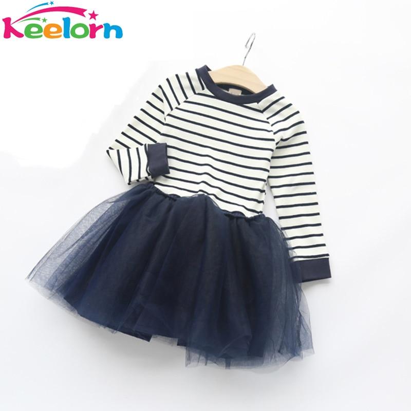 Keelorn Girls Lace Dress 2017 Spring Autumn Brand Kids clothing Long Sleeve Striped Mesh Design Dress for Girls Clothes 3-7Y keelorn girls dress 2017 autumn winter