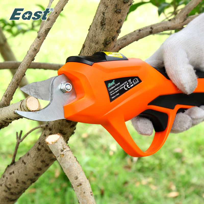 EAST Power Tools 3 6V Li ion Battery Cordless Secateur Branch Cutter Electric Fruit Pruning Tool