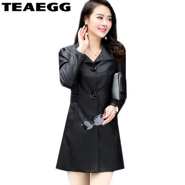 fc8046ffb24f0 TEAEGG grande taille 5XL 6XL Veste simili Cuir noir Femme Veste Cuir Femme  vestes Cuir Femme