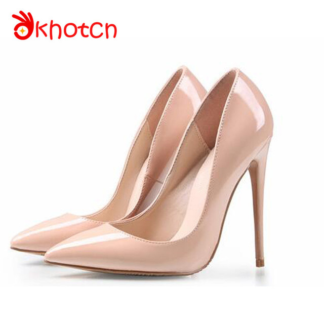 41ecf90b792 Okhotcn Luxury Brand Shoes Women Nude Colors Thin High Heels Women Pumps  12CM Party Pointed Toe Zapatos Mujer Free Shipping