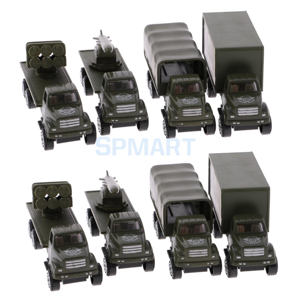 Camo Diecast Truck Car Armored Tank Vehicle Model Toy Set 1:64 Model Kids Boy Play Set of 8 Pieces