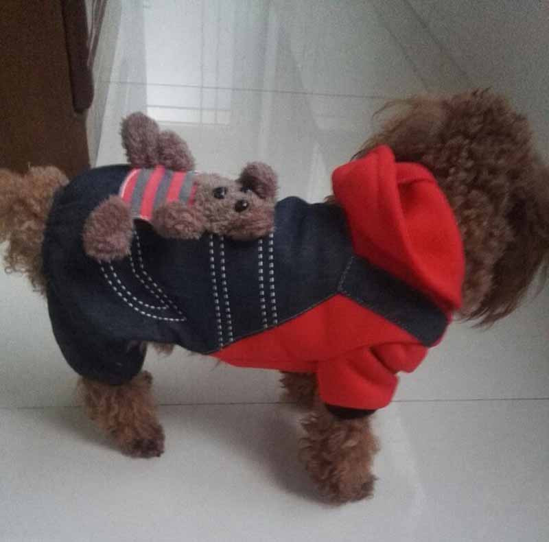 SYDZSW New Chihuahua Clothing Red Yellow Sport Dog Coat Hoodie for Small Dogs Cats Puppy Pet Jeans XS S M L XL XXL Dog Costume Wholesale7