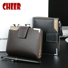 Fashion Brand wallet  Men  leather pocket Short Wallet zipper coin portfolio Handy luxury wallet 3 Fold Male Purse Cards wallets