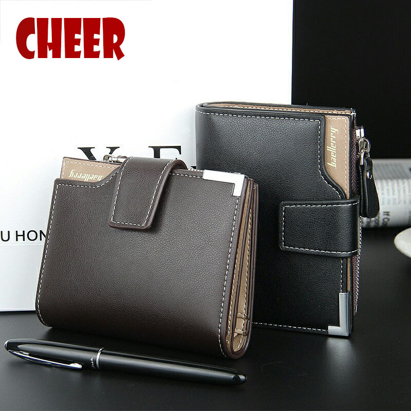 Fashion Brand wallet  Men  leather pocket Short Wallet zipper coin portfolio Handy luxury wallet 3 Fold Male Purse Cards wallets