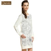 Qianxiu Brand Women casual long-sleeved cotton nightdress Female long sleeve sleepwear night skirt 15283