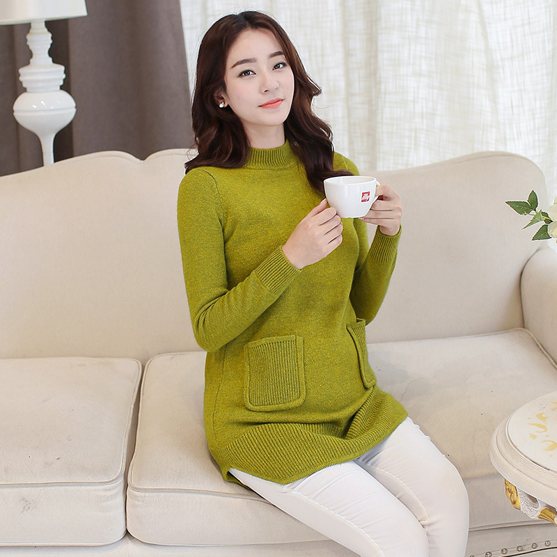 New 4 Colors Gravida Pullover Loose Long Maternity Sweater Clothes for Pregnant Women Autumn Winter Plus Size Pocket Sweater chic round collar color mixture pocket design loose pullover sweater for women