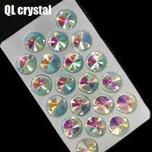 QL Crystal 18mm  Rivoli Sew On Rhinestones Clear AB Flatback 2 holes round for DIY wedding dress bags shoes accessories
