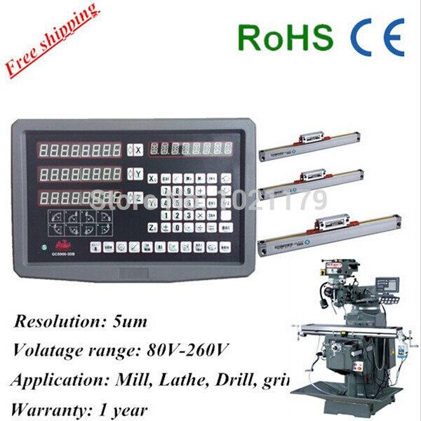 Alta precisione set completo di fresatura tornio trapano noioso macchina CNC 3 assi lettura digitale dro con scala lineare