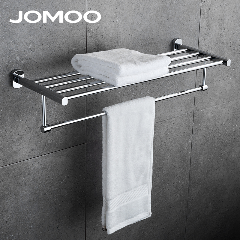 JOMOO Towel Bar Brass Alloy Set Towel Rack Wall Mounted Tower Holder Hanger Bathroom Hotel Shelf Chrome Finish 933612 hand tap drill 6pcs set hex shank hss screw spiral point thread metric plug drill bits m3 m4 m5 m6 m8 m10 hand tools