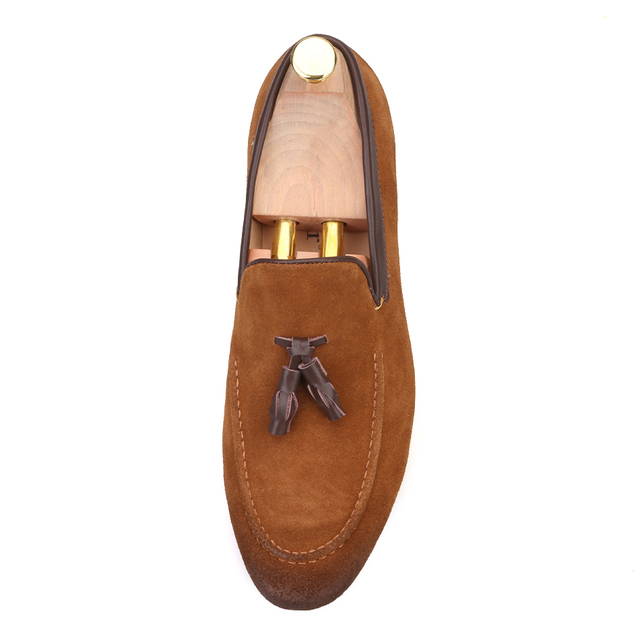 Black and Brown men suede shoes with leather tassel men handmade casual loafers 2