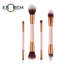 ESOREM 4 Pcs Dual Makeup Brushes Convenient Cosmetic Brush Set Angled Contour Larger Powder Stippling Pinceles Maquillaje 070805