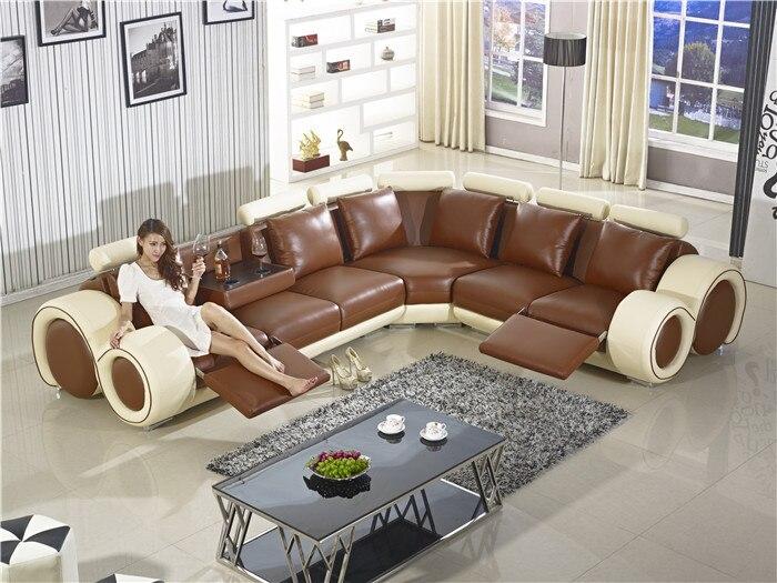 Раскладной Диван, новый дизайн, большой размер, l образный диван, итальянский кожаный угловой диван с откидным креслом, небольшой стол, диван