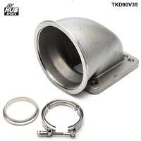1 set T4/T3 Turbo Stainless Steel 90 Degree Elbow Adapter Flange + 3.5 Vband 304 TKD90V35