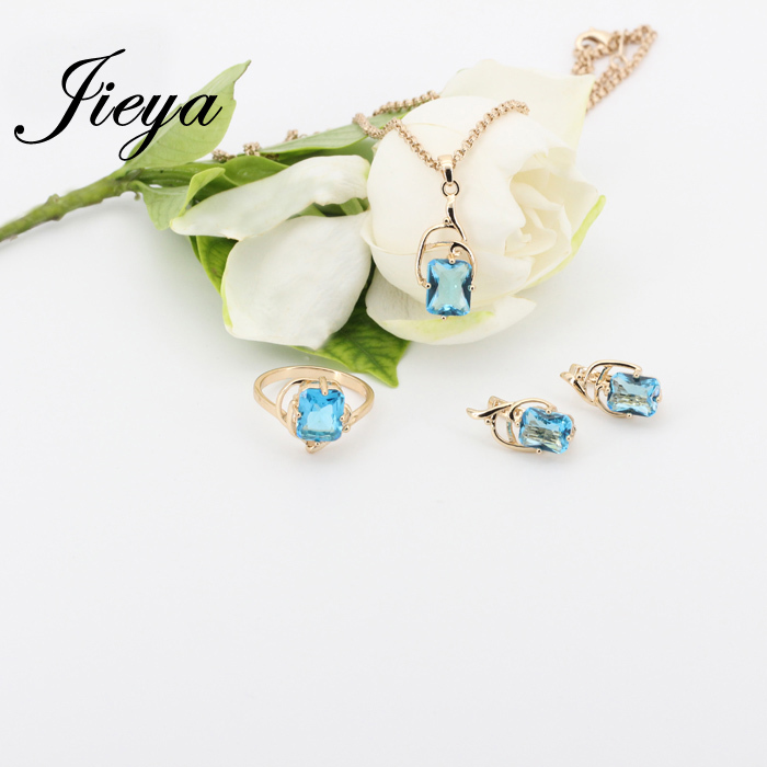 New Square 585 Gold Jewelry Sets Blue Natural Zircon sistemas de la joyeria 585 Gold Plating Wedding Wedding Brides Jewelry Sets