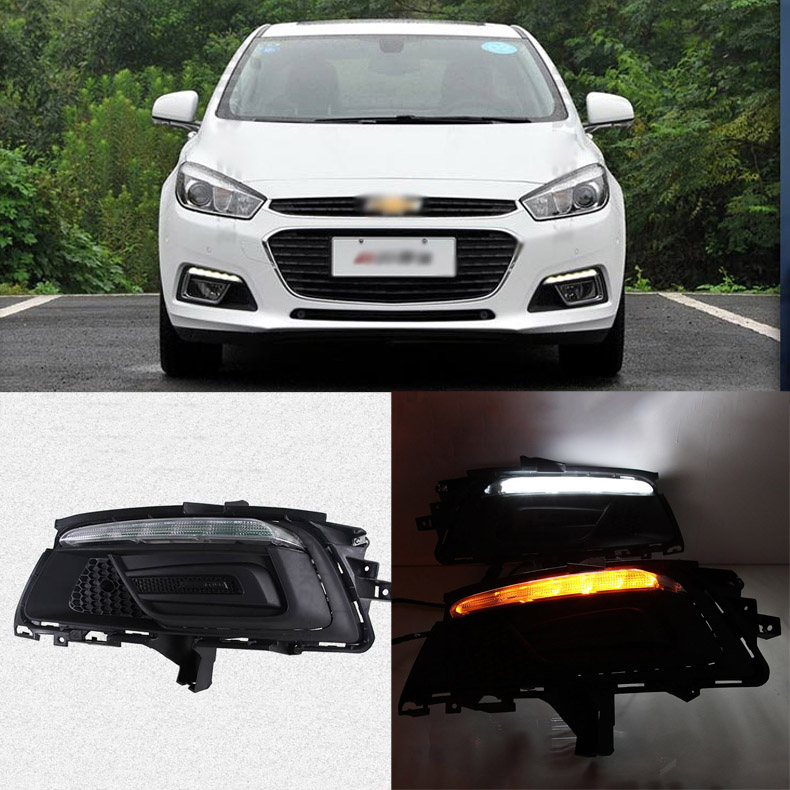 Ownsun Brand New Updated LED Daytime Running Lights DRL With Black Fog Light Cover For Chevrolet Cruze 2015 цена и фото
