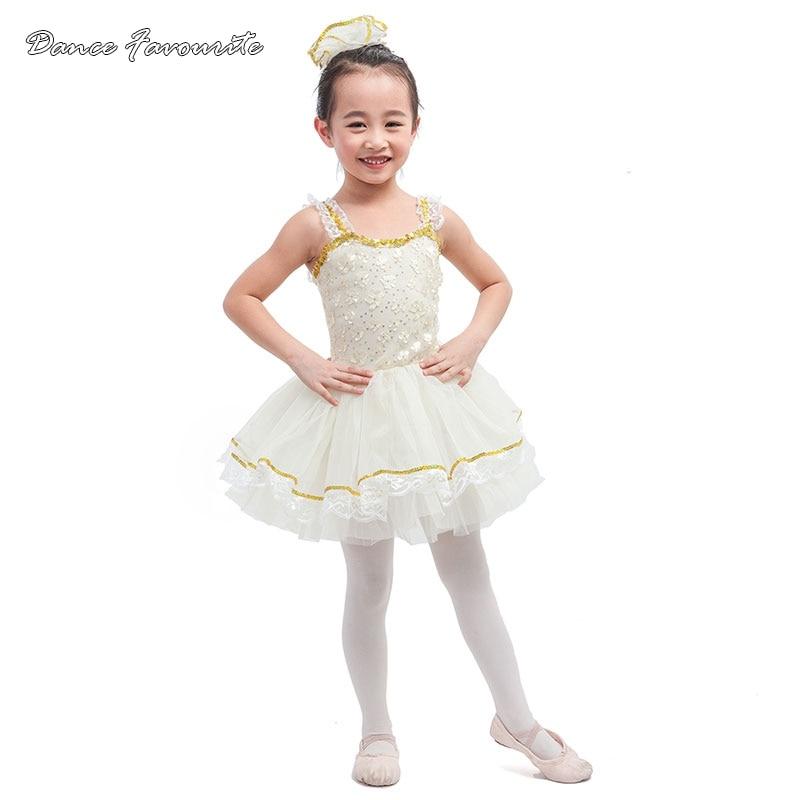 Dance Favourite Sequin lace ivory spandex bodice ballet tutu ballerina girl dance costume tutu kid performance dance tutu