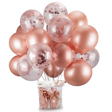 WISHMETYOU 3pcs Wedding Decoration Rose Gold Balloon Confetti Birthday Baby Boy Girl Christening Bachelor Party 12/18 Inches