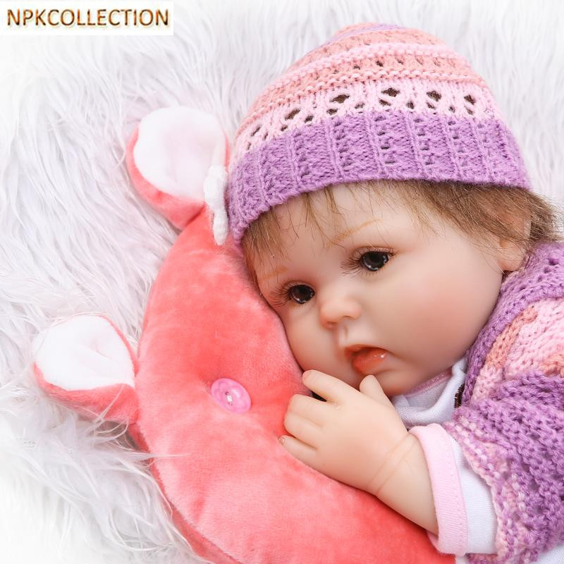 Фотография NPKCOLLECTION 37CM Mini Silicone Reborn Dolls Cotton Body Soft Toys for Children,15 Inch Reborn Babies Alive Dolls Brinquedos