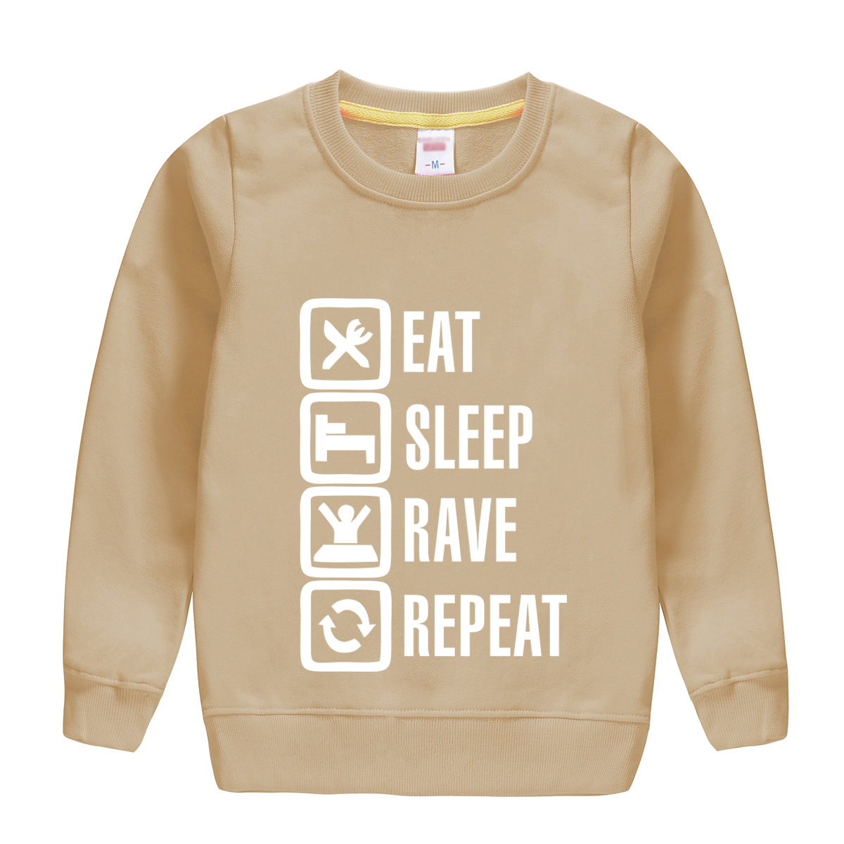 eat sleep rave repeat spring autumn 2018 new arrival cotton sweatshirt children hoodie clothes top soft outwear high quality tee