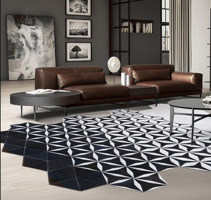 New fashion cowhide rug modern neoclassical living room carpet sofa table bedroom bedside luxury cow hair carpet