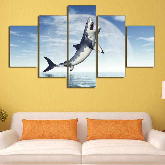 5 Pieces Shark HD Oil Printed Painting Canvas Animal Sea Painting ...