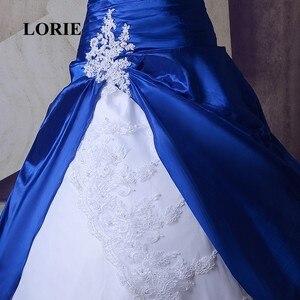 Image 5 - Свадебное платье со шлейфом LORIE, готическое Королевское синее платье с белым кружевом, бальное платье невесты, индивидуальный пошив, высокое качество, реальное фото