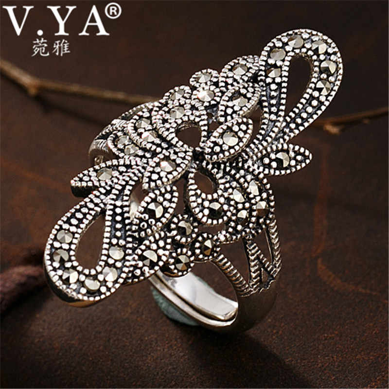 V.YA Luxury 925 Sterling Silver Ring Women Open Rings Adjustable Size Thai Silver Marcasite Stone Jewelry