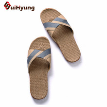 Suihyung Men's Flat Slippers Comfortable Non-slip Linen Flip Flops Home Bathroom Slippers Male Beach Slippers Hit Color Sandals