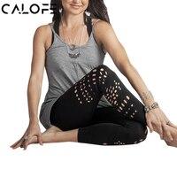 CALOFE Yoga Pants High Waist Women Sport Leggings Solid Elastic Yoga Leggings Flower Design Hollow Out