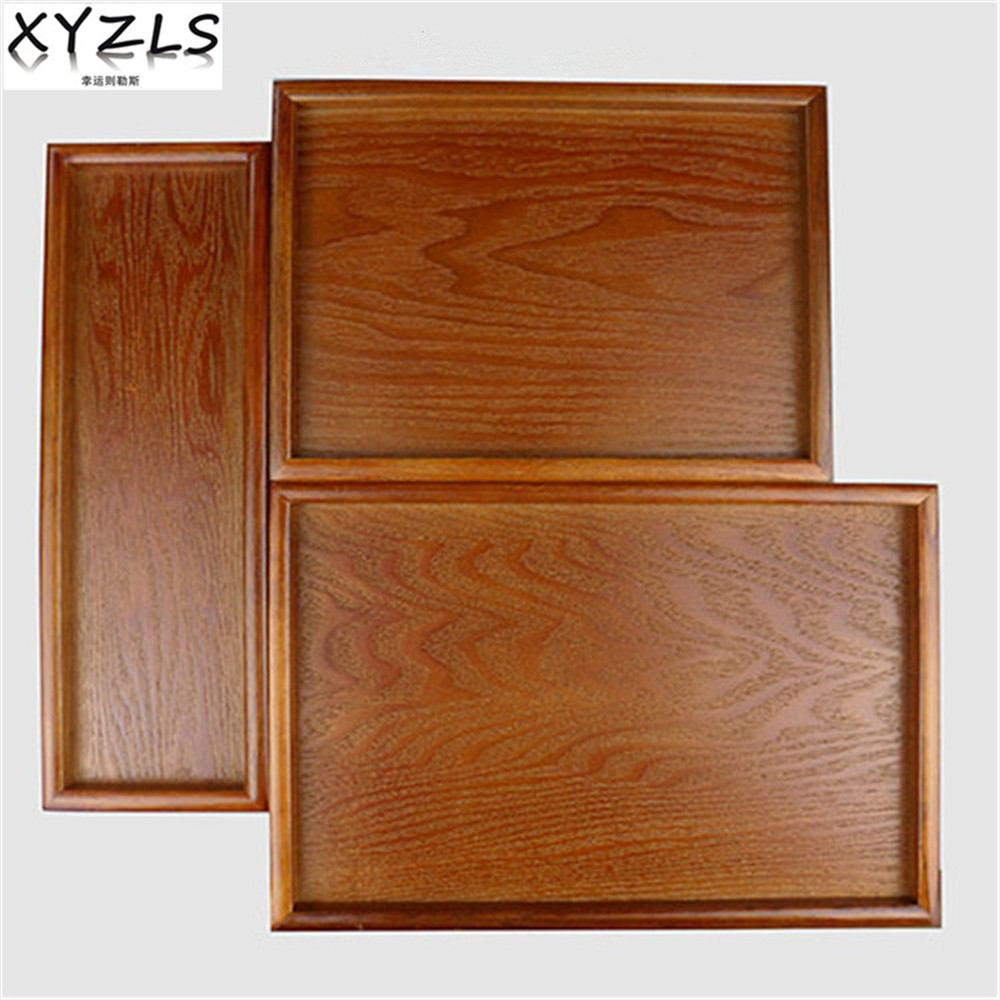 Xyzls Wood Rectangle Tray Solid Food Fruit Dishes Eco