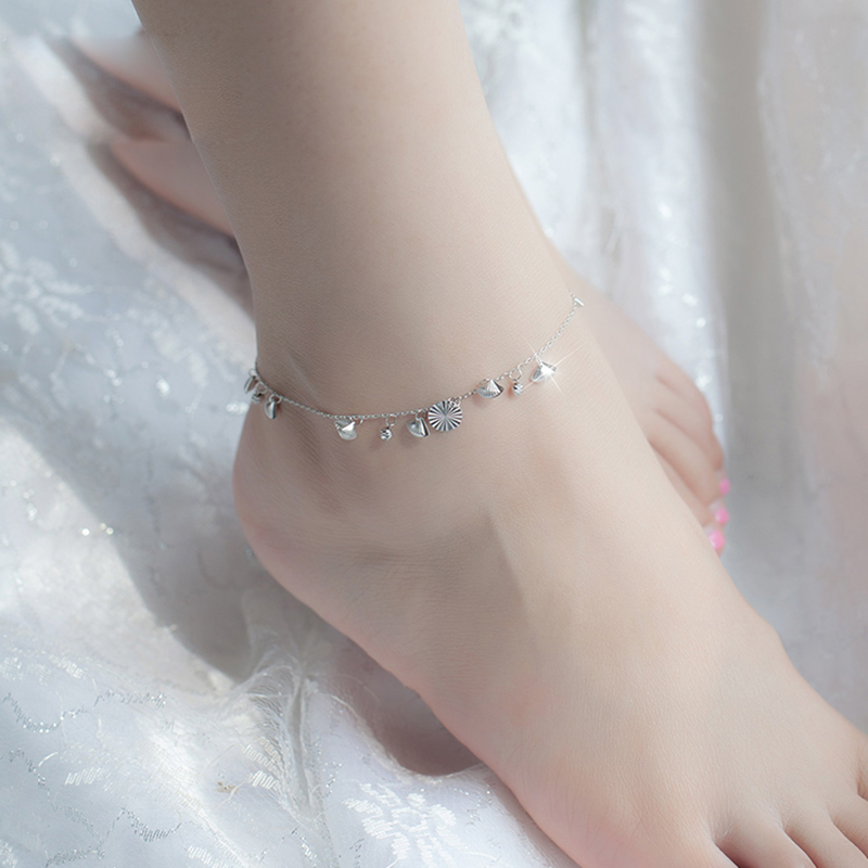 925 Sterling Silver with Platinum Plated Seashells Anklets Women Fashion Brand Jewelry Accessories SA044