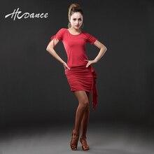 HCDance New Latin Dance Suits Women Silk Black Red short-sleeve Latin Dance Salsa Cha Ballroom Flamengo Competition A108+A208
