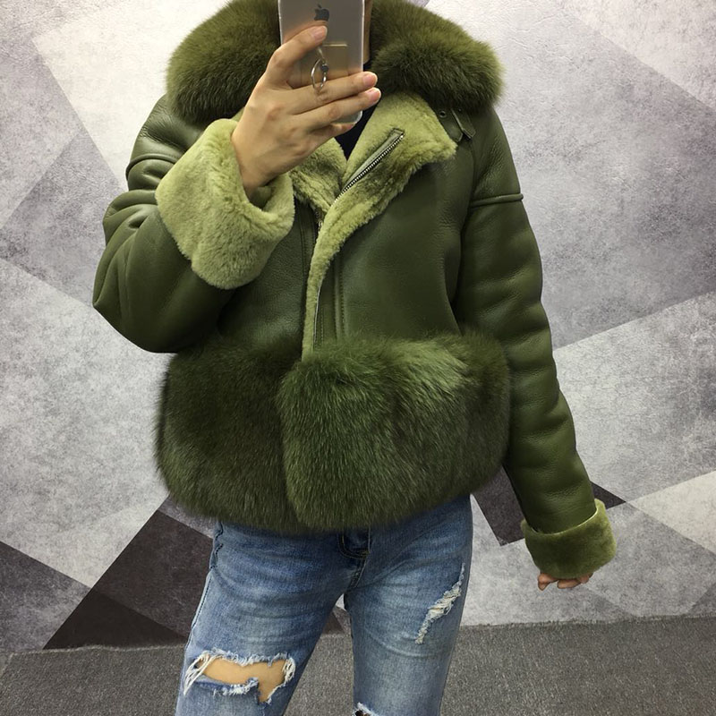 2019 100% Real Genuine Leather Jacket Women With Fur Fox Collar Bottom Real Sheepskin Coat Winter Plus Size Black Full Sleeve