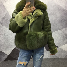 2019 100% real genuine leather jacket women with fur fox collar bottom sheepskin coat winter plus size black full sleeve