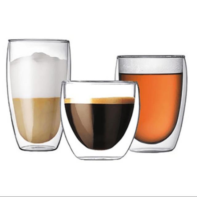 1 Pcs Heat-resistant Double Wall Glass Cup Beer Coffee Cup Set Handmade Creative Beer Mug Tea glass Whiskey Glass Cups Drinkware 2