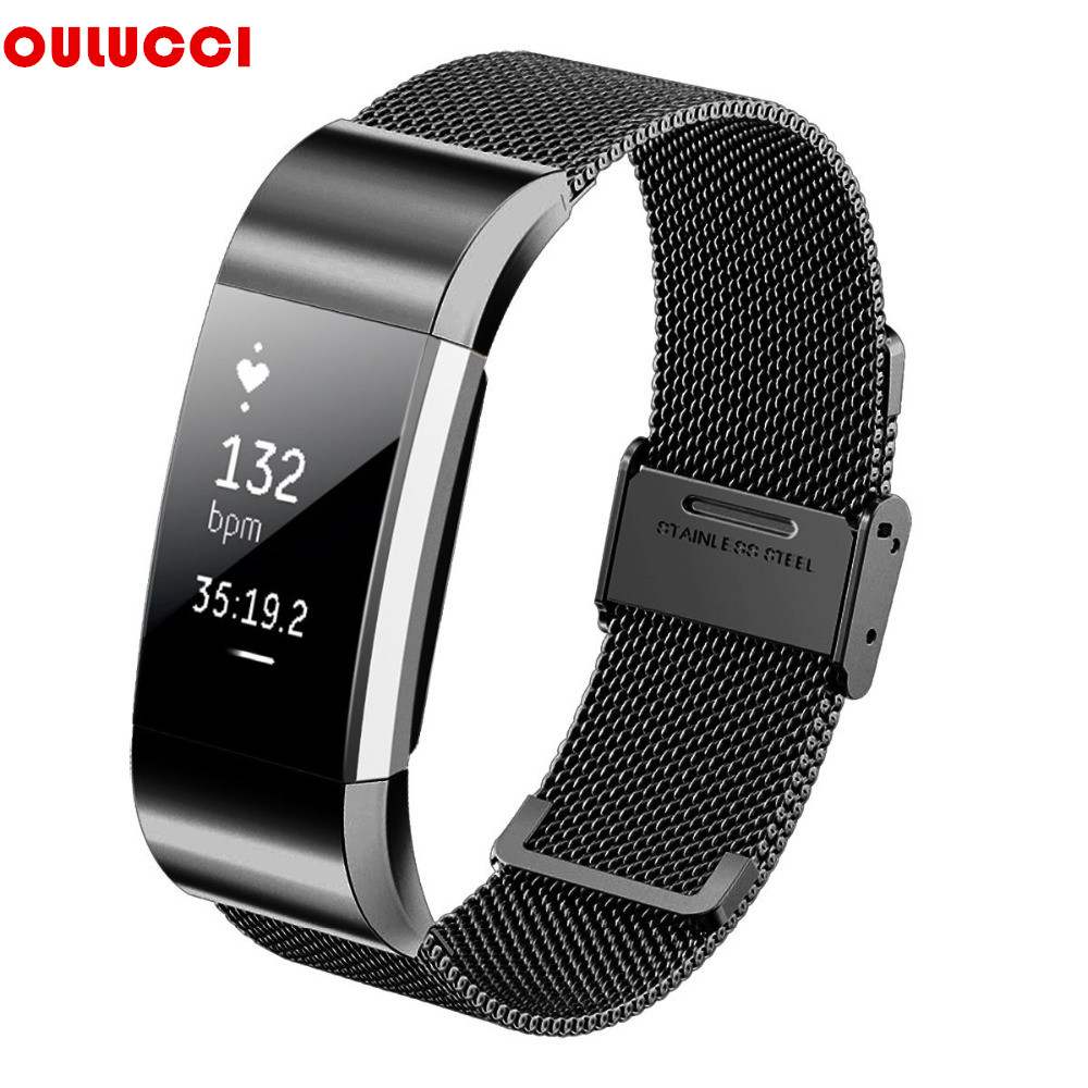 Business Luxury Milanese Stainless Steel Bracelet Fitness Accessory Replace Wrist Bands Loop Straps Clasp for Fitbit Charge2