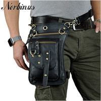 Norbinus Genuine Leather Men Waist Bag Fanny Packs Motorcycle Thigh Drop Leg Bag Male Shoulder Messenger Bag Hip Belt Hook Pouch