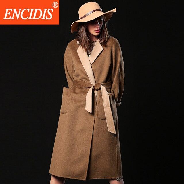 2016 New Lady Coat Winter and Autumn Windbreaker Women Coats Solid Jackets Loose Overcoat Belt  Long Outerwear F166