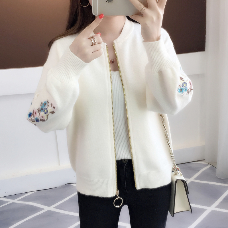Of New Fund Of 2019 Autumn Outfit Embroidered With A Han Edition Zipper Sweater Knit Cardigan Loose Women's Female
