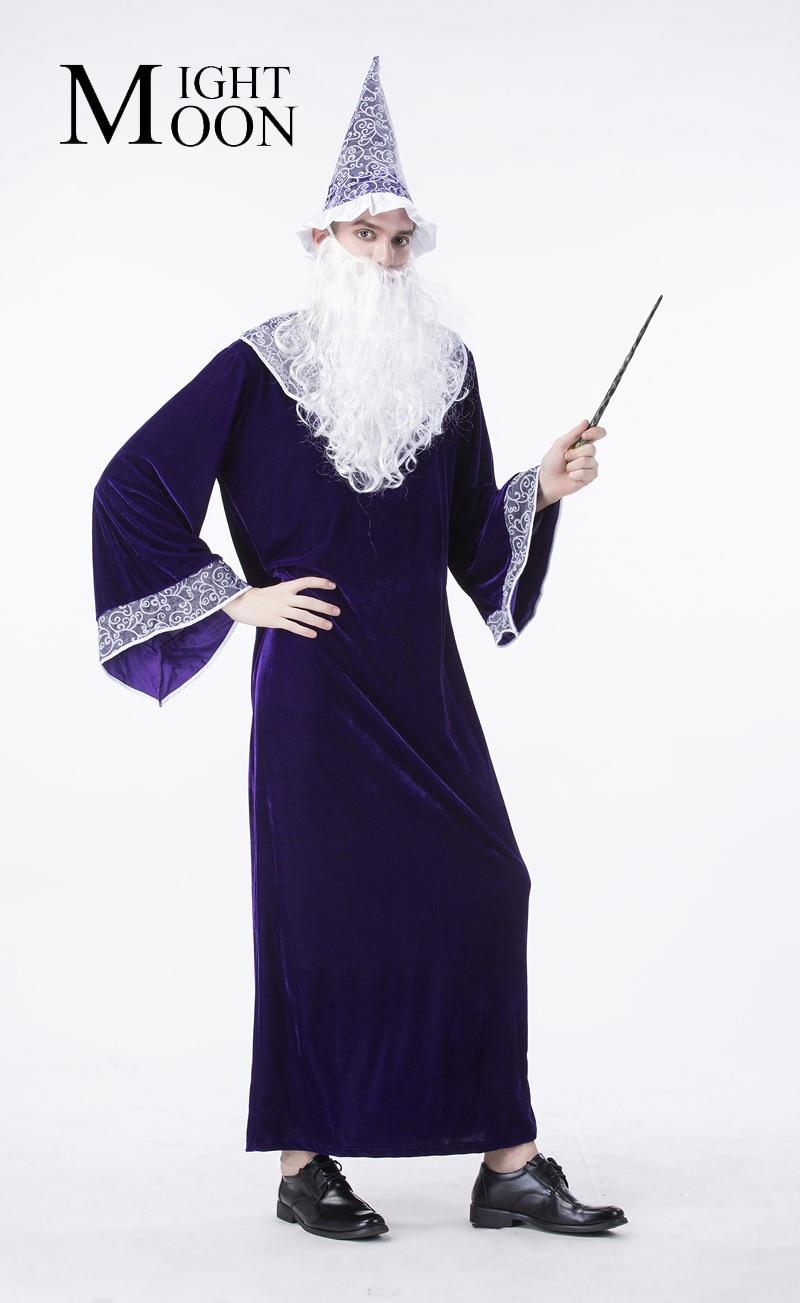 MOONIGHT Deluxe Blue Magic Wizard Costume Men Halloween Cosplay Disfraces Gothic Robe