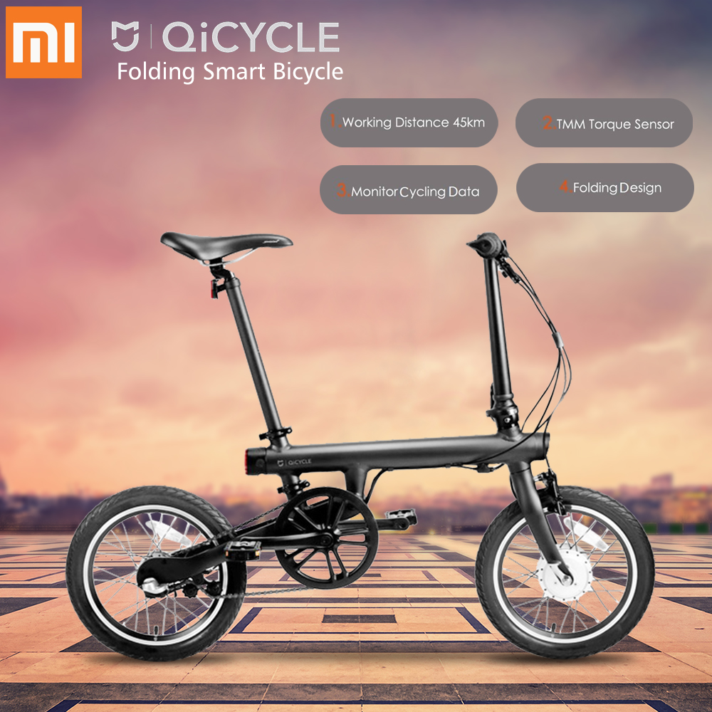 все цены на Original Xiaomi QiCYCLE - EF1 Folding Electric Bike Bluetooth Smart Electric Bicycle 16inch Bicycle Support APP 100% WITHOUT TAX онлайн
