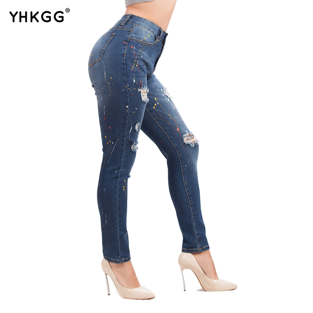 YHKGG Fashion Destroyed Ripped Distressed Slim Denim Pants full length skinny pencil pants Female calca jeans
