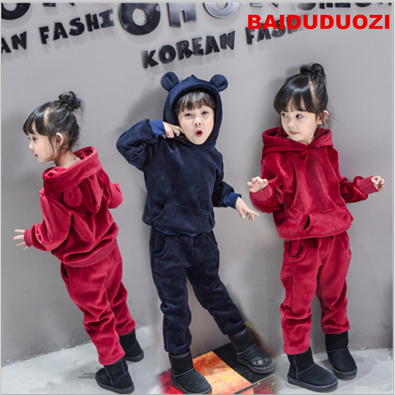 Girls Clothing Sets Autumn Long Sleeve T-shirt+Pants Tracksuit pleuche Clothes Suit Children's Sports Suits Kids Set autumn winter boys girls clothes sets sports suits children warm clothing kids cartoon jacket pants long sleeved christmas suit