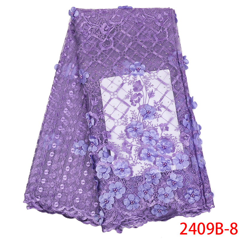 African Lace Fabric 2019 High Quality 3D Applique Lace For Weddind Bridal Dress French Tulle Lace Fabric With Beads KS2409B-8