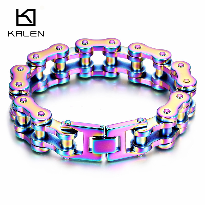 Kalen Fashion Colorful Bike Chain Bracelets For Men 316 Stainless Steel Gray Pride Rainbow Color Motorcycle Link Chain Bracelets