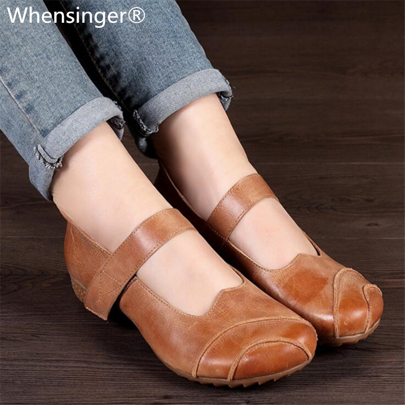 Whensinger 2018 New Arrival Spring Autumn Women Shoes Genuine Leather Flats Hook & Loop Design 3621