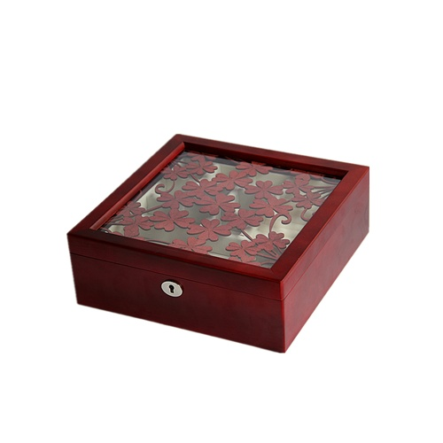 Wooden jewelry box jewelry box gift Wedding Princess European wine red wood special offer