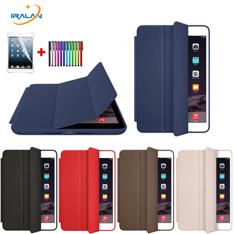 Hot Case for New iPad 9.7 2017 A1822 Original fashion Tri-fold smart cover Ultra Slim PU Leather Silicone Back Case + film +pen back shell for new ipad 9 7 2017 genuine leather cover case for new ipad 9 7 inch a1822 a1823 ultra thin slim case protector