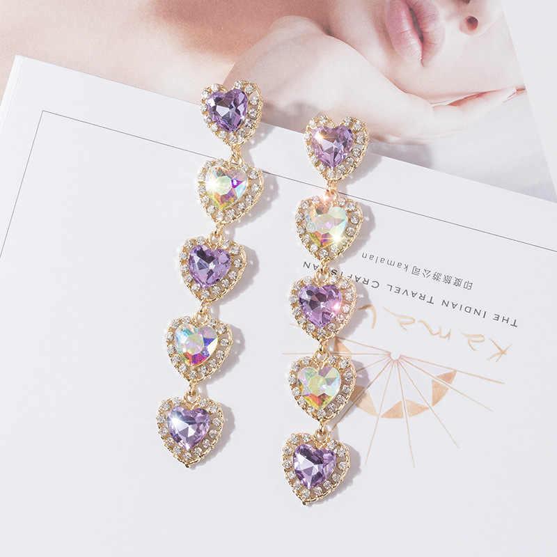 Блестящие боковые новые модные украшения с кристаллами сердце серьги гвоздики
